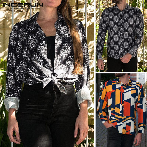 2019 NEW Geometric Pattern Shirt Men Tee Tops Long Sleeve Lapel Collar Loose Fit Hawaiian Beach Clothing Vacation Chemise Camisa
