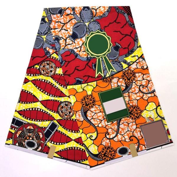 2019 Ultimo disegno Ankara Africano Tessuto di Cera Stampa Hollandais Tessuto di Cera Olandese 6 Metri Rosso Veritable Reale Hollandais SP113
