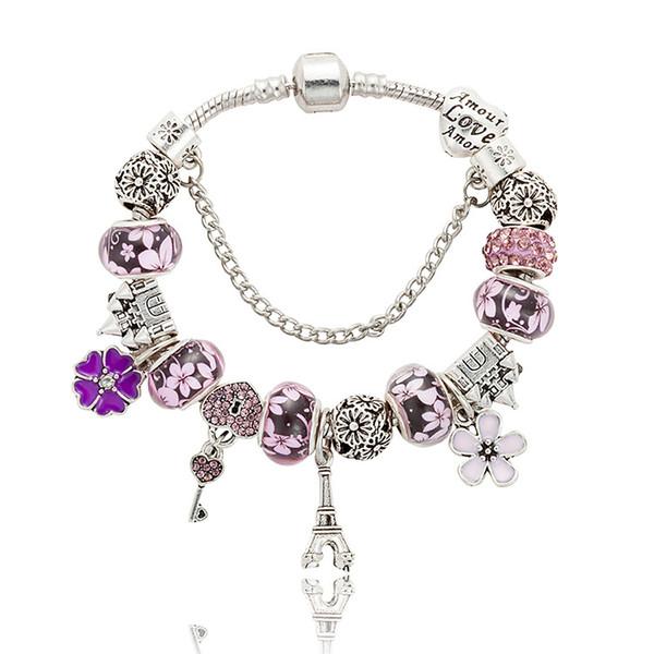 Neue 925 Silber Charm Perlen Kristall Charm Armband Eiffelturm Anhänger Frauen lieben Perlen Armband DIY Schmuck Großhandel Zubehör