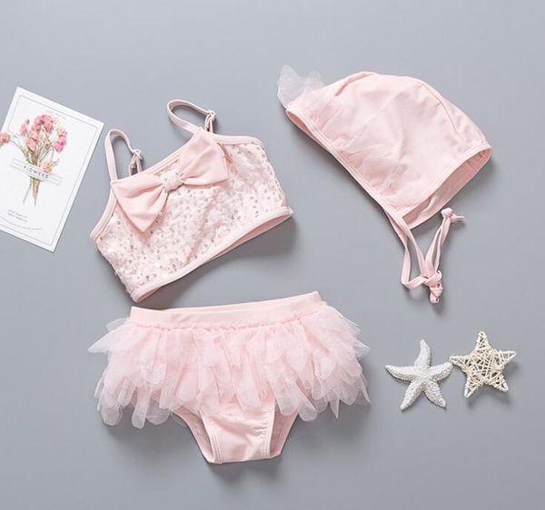 2019 new kids girls 3pcs hat bikini hat sparking pink sequin tutu skirt beachwear big bow shining bathing suit