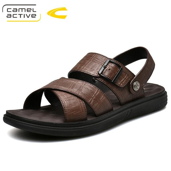 Camelo Ativo 2019 Nova Alta Qualidade Homens de Verão Sandálias de Couro Genuíno Confortável Fivela Alça Homens Sapatos de Moda Sapatos Casuais
