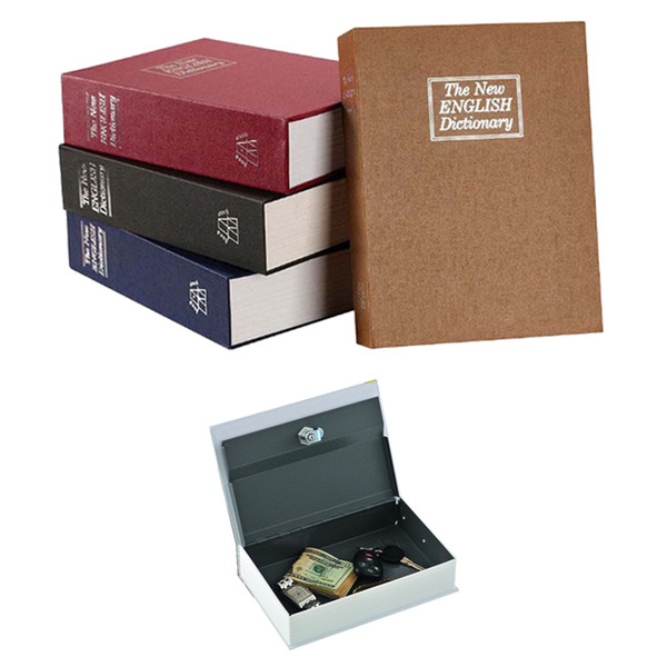 Book Piggy Bank Creative English Dictionary Money Storage Box with Lock Safe Deposit Box Home Mini Cash Jewelry Security Storage Box