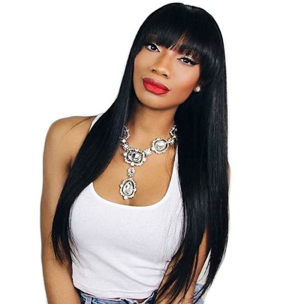 straight human hair wigs with bang 13x6 lace front human hair wigs with bangs brazilian straight human hair lace wigs for black women