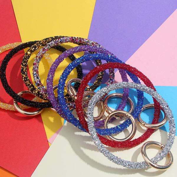 Silikon handgelenk schlüsselanhänger pailletten silikon schlüsselbund diamant armband schlüsselanhänger frauen kreis armband auto schlüsselanhänger ring handschlaufe 9colorGGA2578
