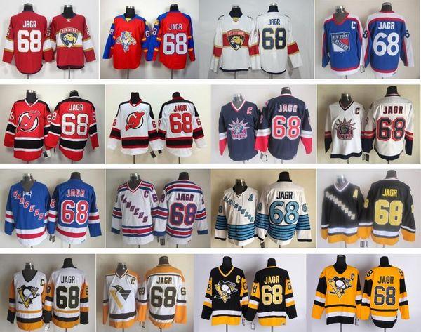 Дешевые мужчины 68 Jaromir Jagr Jerseys Питсбург Хоккей Пингвины Jaromir Jagr Джерси сшитые логотипы Vintage CCM черный синий желтый