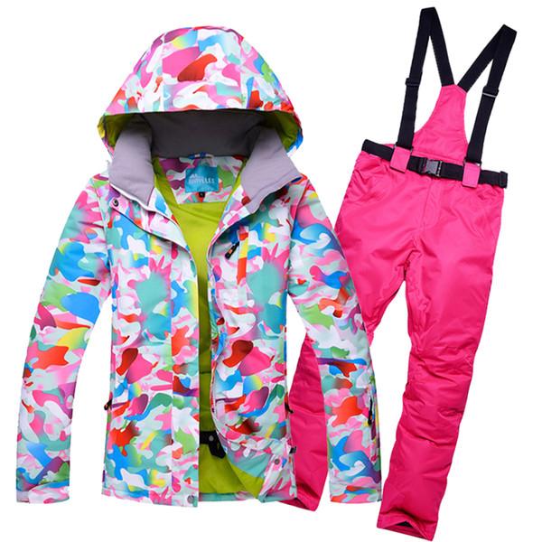 2018 RIVIYELE NEW Women Ski Suit Waterproof Ski Jacket Pants Winter Outdoor Skiing Snowboard Suit Set Jacket Pants Snow Clothes