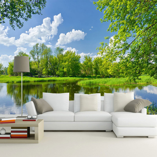 Custom Wall Mural Wall Painting 3D Blue Sky White Clouds Nature Scenery Wallpaper For Bedroom Walls Non-woven Wallpaper Wall 3D