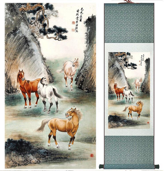 Four Horses Super Quality Traditional Chinese Art Painting Home Office Decoration Chinese Paintingprinted Painting