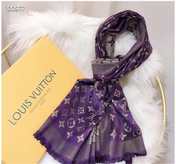 7 цветов Дизайнер Женщина мягкий Lamé Scarf Luxury Four seasons стиль шелковый и хлопковый шарф длинный платок Печатный бестселлер классический размер180-70
