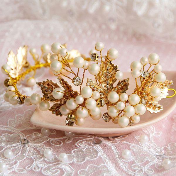 Luxury Chic Gold Leaf Crystal Pearl Flower Bridal Hair Clip Band Crown Headband Jewelry Princess Head Band Jewelry