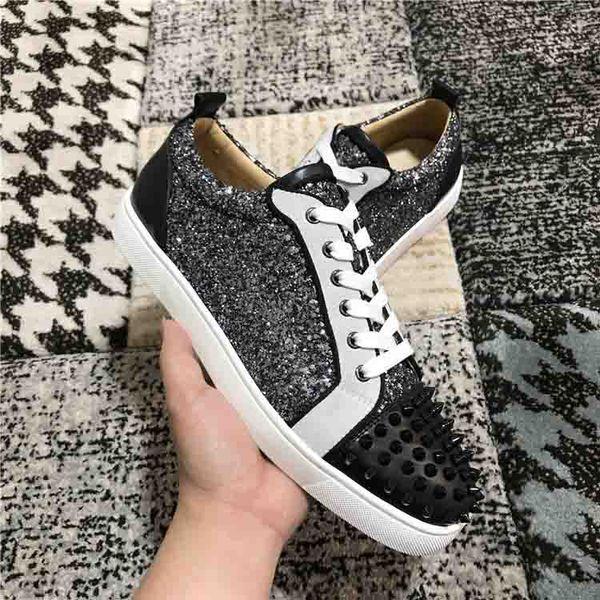 Модные низкие кеды с шипами и красной подошвой для мужских кроссовок Junior Viera Spikes Черная бархатная кожа + кроссовки с блестками Sliver размер 35-47