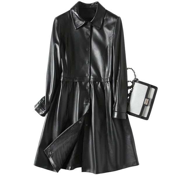 New Fashion Casual Genuine Leather Jacket Women Real Sheepskin Coat Long Trench Female Spring Autumn Jackets for Women Z429