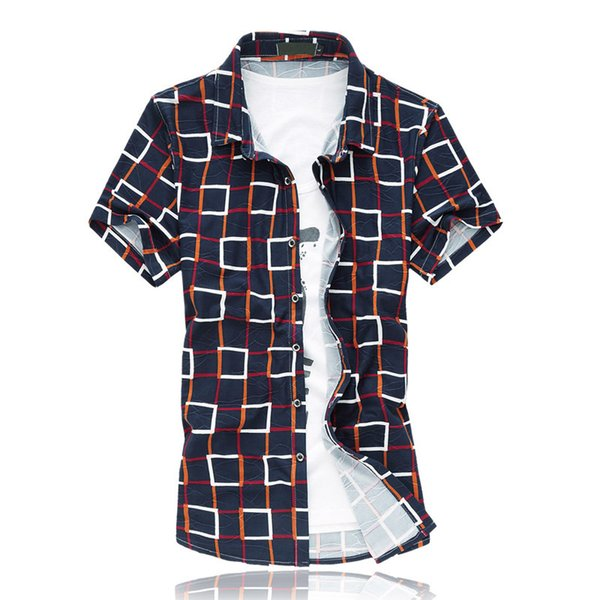 Men Casual Print Shirt Short Sleeve Plus Size M-7XL 2018 New Arrival Fashion Summer Style Mens Hawaiian Shirt XK151