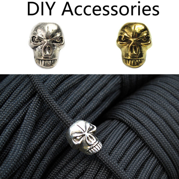 New 2 Colors Mini Skull Beads Keychain DIY Jewelry Making Necklace Bracelets Earring Lanyards Accessories Paracord Pendant Zinc Alloy M373F
