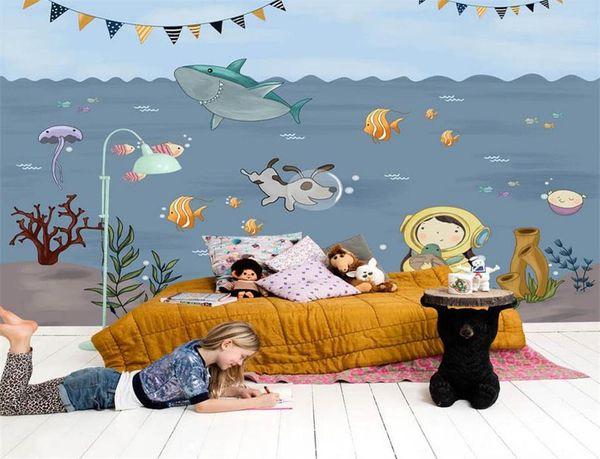 Personnalisé taille 3d photo papier peint peintures murales de chambre peints à la main bande dessinée monde sous-marin enfants image canapé toile de fond papier peint murale autocollant