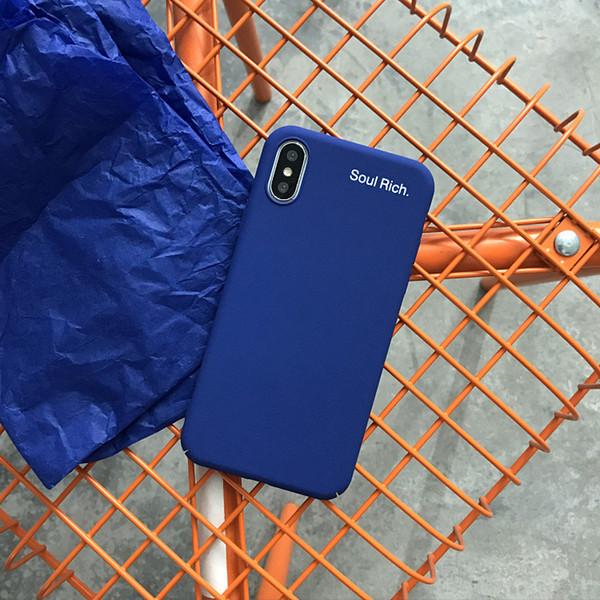 Minimalismo Blue Phone Cases PC All-Inclusive Hard per Iphone Xs Max Rock Sand Caso di telefono cellulare ruvido per Iphone 6 7 8 Plus