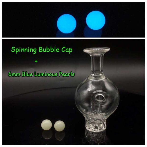 Casquillo de burbuja + 6mm perlas azules