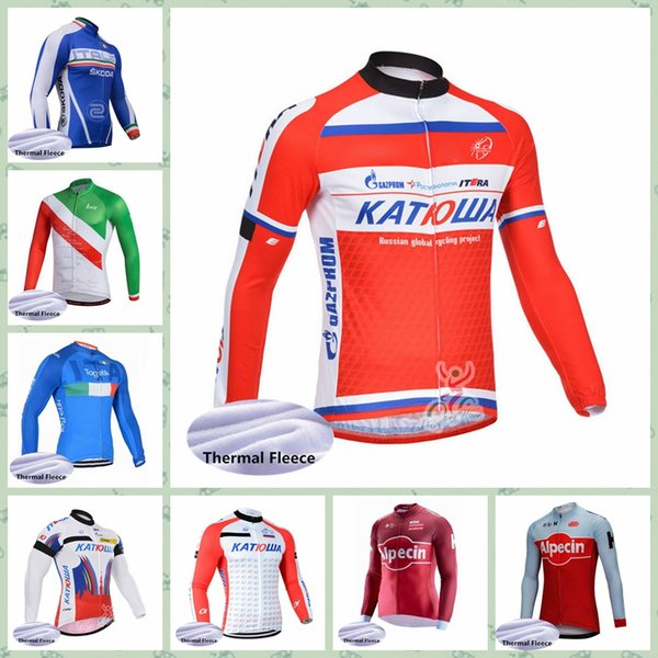 2019 KATUSHA ITALY team Cycling Winter Thermal Fleece jersey High quality Comfortable outdoor Windproof bicicleta Cheap New Arrive W30925