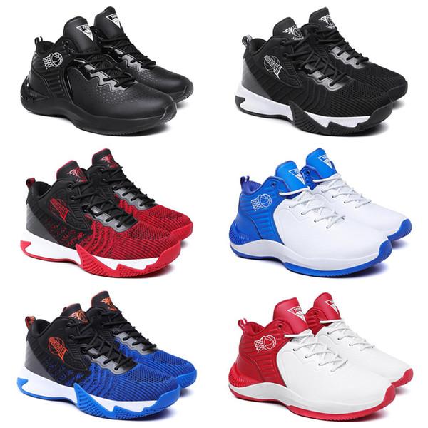 Rabatt für Männer Basketball-Schuh Schwarz Weiß Blau Rot Trainer Männer bequemer Breathable Sport-Turnschuh 40-44 Art 11