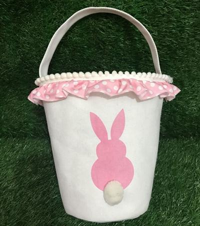 New Bunny Tail Basket Personalized Easter Rabbit Basket Bunny Egg Buckets 2019 Latest Gift Bag Festive Supplies 4 Designs