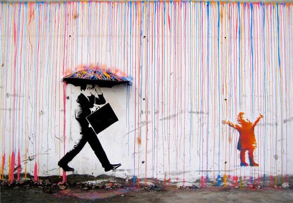Banksy Art Renkli Yağmur BANKSY, Ev Dekor HD Baskılı Modern Sanat Boyama Tuval üzerine (Çerçevesiz / Çerçeveli)