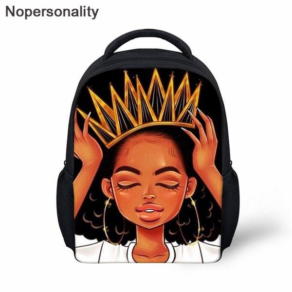 Nopersonality Siyah Kraliçe Okul Çantaları, Toddler Kitap Çanta, Sevimli Afrika Afro Princesse Baskı İlköğretim Öğrenci Sırt Çantası Mochilas