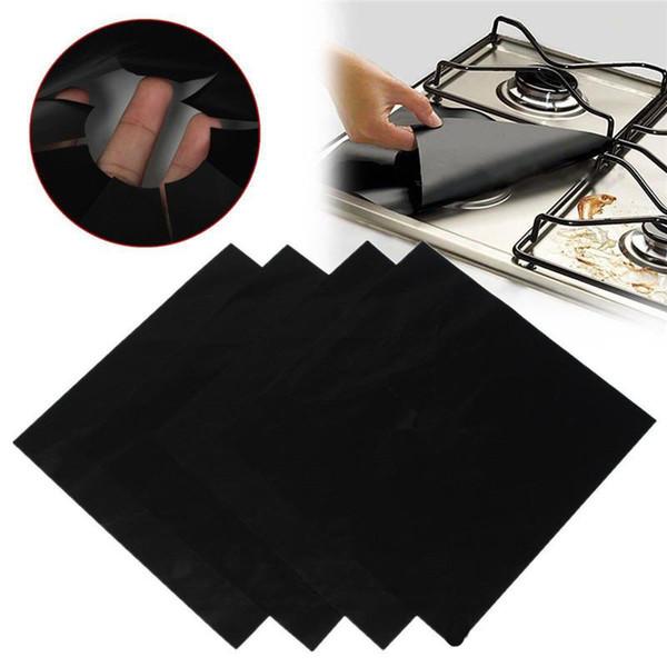 4 Pcs/Lot Gas Stove Protection Pad Reusable Glass Fiber Non-Stick Protection Mat Easy Clean Washable burner cover Wholesale