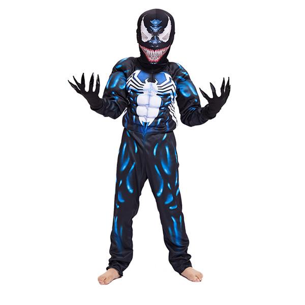 Nouvelle Arrivée Enfant Noir Spiderman Garçons Muscle Venom Film Personnage Cosplay Super-Héros Halloween Carnaval Costume De Déguisement