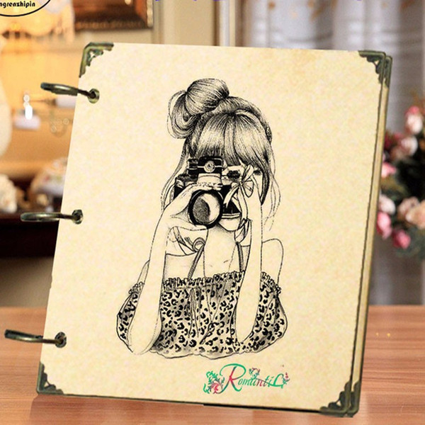 NEW 8 Inch Retro DIY Scrapbook Photo Album Weeding Travel Baby Album Craft Handmade Craft Paper Wedding Memory Photo Album SH190910