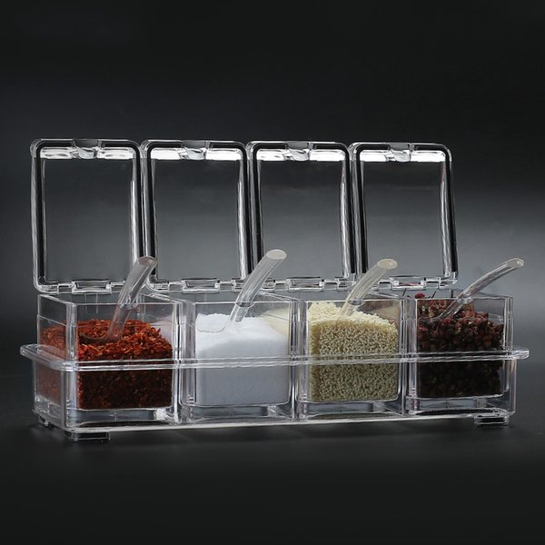Kitchen seasoning jar creative household 4 grid seasoning box acrylic plexi glass salt pot PS material storage box ZP12181420