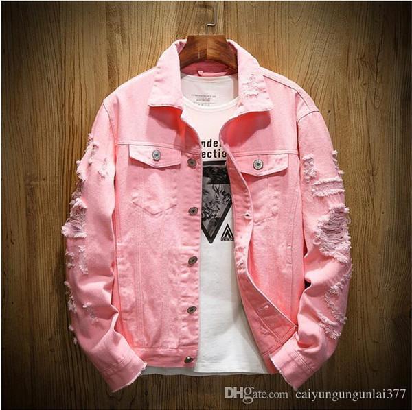 Miglior modo di vendita marchio di denim uomini giacca strappato Fori cime Mens Rosa Jean Giacche vestito nuovo progettista Coppie denim lavato Abbigliamento Coat