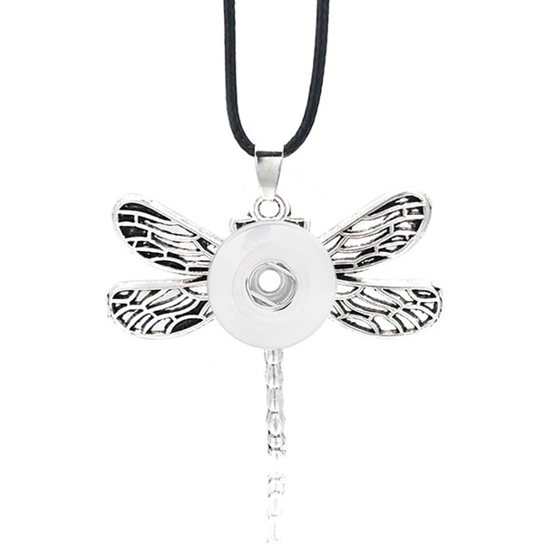 Fashion Interchangeable Flower Dragonfly Ginger Necklace 032 Fit 12mm 18mm Snap Button Pendant Necklace Charm Jewelry For Women Gift