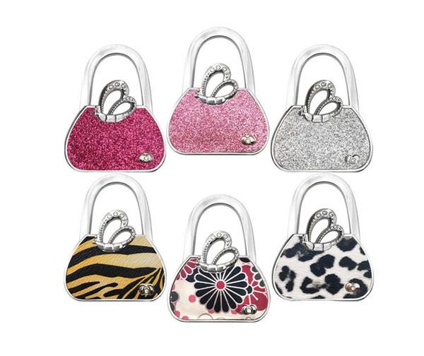 Handbag Hook Bag Holder Angel Wings Leopard Print Butterfly Flower Zebra Stripe Portable Foldable Purse Hooks Hanger Holders SN2961