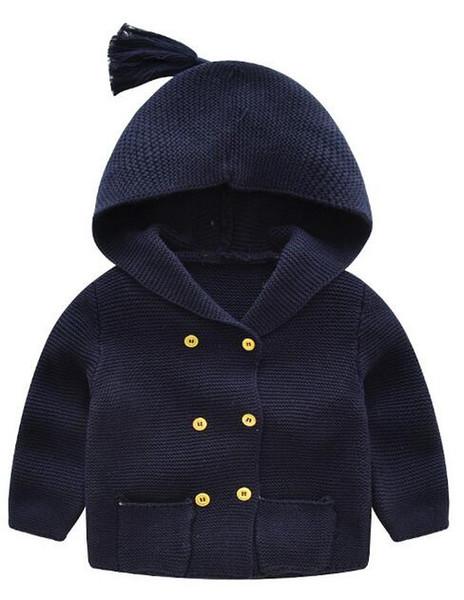 Maglione con cappuccio per bambini Winter Style Cardigan blu scuro Bottone doppio Righe One Color Full Size Scegli