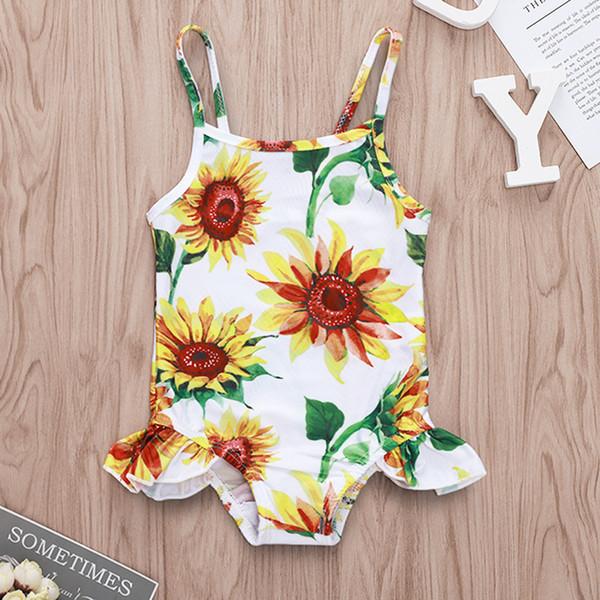 Baby Girl One-piece Swimsuit Girassol Impresso Sling Babados Ternos Crianças Menina Praia Biquíni Verão Esportes De Água Swimwear 0 M-3 T