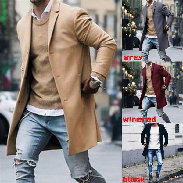 top popular Fashion Men's Trench Coat Warm Thicken Jacket Woolen Peacoat Long Overcoat Tops Outwear Overcoat Long Sleeve Button Jacket 2021