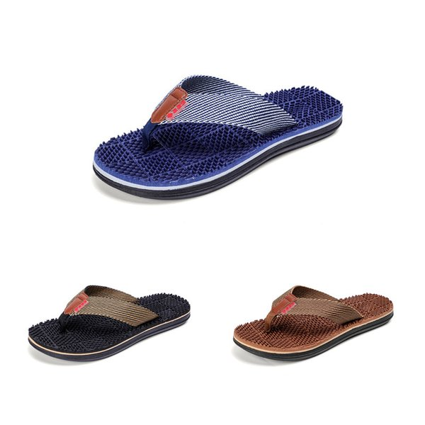 Best Quality New Fashion Casual Home Slippers EVA Soles Beach Massage Slippers Flip-flops 3 Colors Available Free Shipping Size 40~45