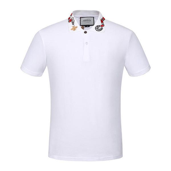2019 Italienische Markendesigner Polo Shirts Herren Casual Polo T-Shirt Schlange Muster Blumenstickerei gestreiften Polo Mode klassischen Polo-Shirt