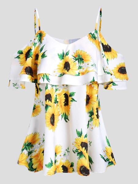 Wipalo Girassol Blusa de Ombro Aberto Nova Moda Cinta de Espaguete Flounce Túnica Blusa Camisas Meia Mangas Tops Blusas Das Senhoras