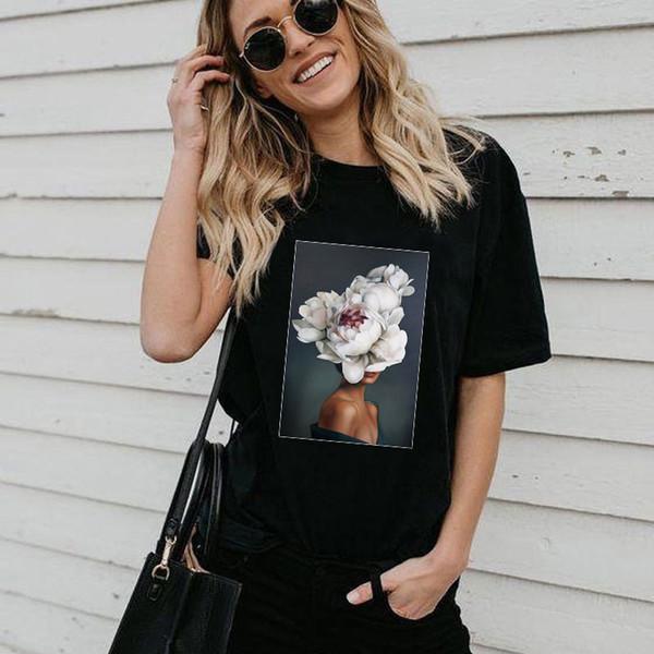Flor da pena Mulher Streetwear Feminino T-shirt Lazer O-pescoço Tendência Tshirt Sumemr Nova Moda Camiseta Mulheres Harajuku