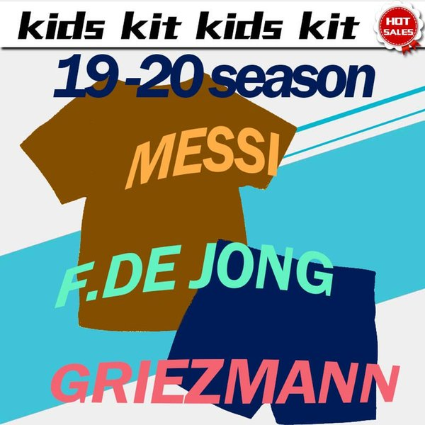 2020 enfants Kit # 10 Maillots MESSI football maison 19/20 # 17 # 9 Griezmann chemises de football SUAREZ loin des uniformes de football tiers mis enfant avec un short