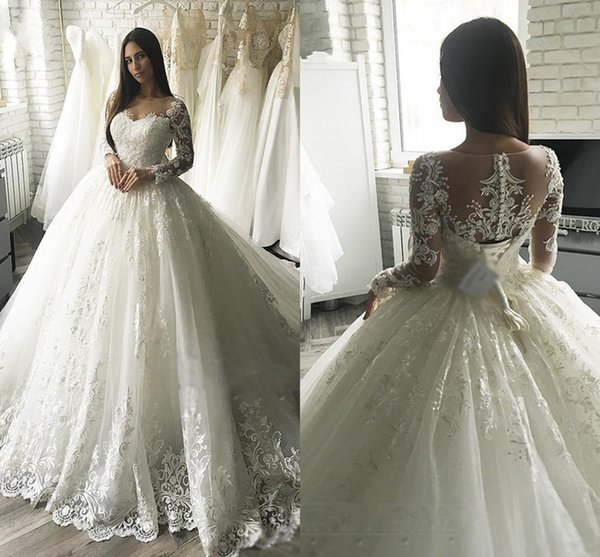 2019 Modest New Arrival Ball Gown Wedding Dresses Lace Appliqued Long Sleeve Sheer Back With Button Covered Belt Long Dubai Arabic Gowns