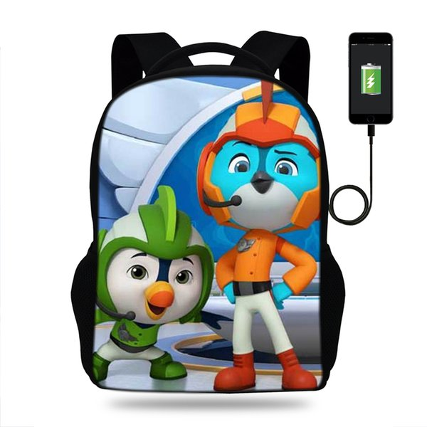 17inch Cartoon Top Wing Backpack usb Charging Port Schoolbag Laptop Backpacks for Teenage Girls School Bag Boys Mochila