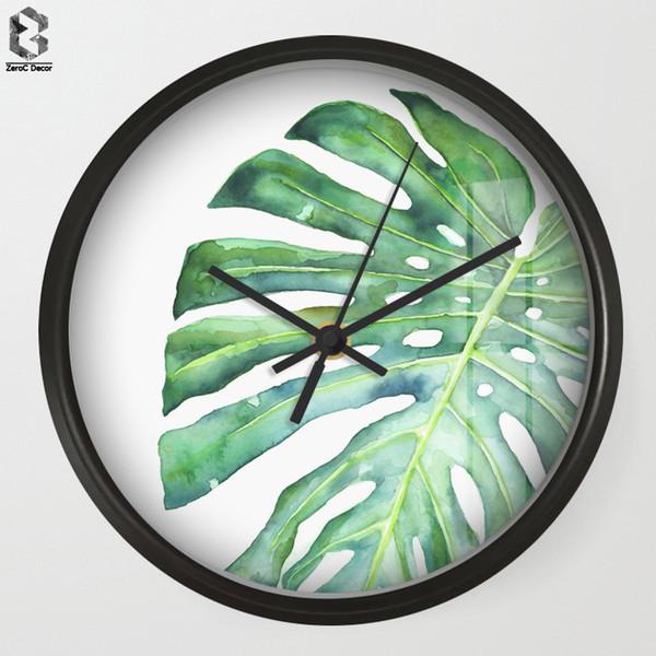 Chic Sanat Duvar Saatleri Yeşil Oturma Odası Duvar Dekor Için Monstera, Masa Dekoratif Dilsiz Kuvars Saat İskandinav Saat Ev Dekorasyon