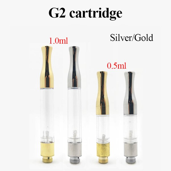 G2 Atomizer Empty Vape Pen Cartridges 1.0ml Silver Gold Drip Tips 510 Thread Thick Oil Vaporizer For BUD Touch O Pen Battery