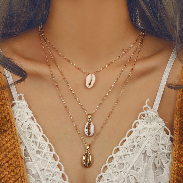 Bohemian Three Layers of Shell Pendant Necklace Natural Shell Gold Women Simple Seashell Necklace Ocean Beach Boho Jewelry Gift