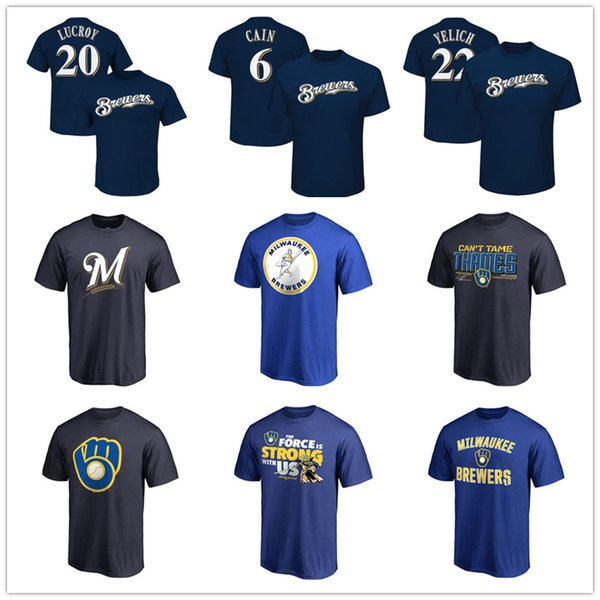 best sneakers 0c64a 78b21 2019 Brewers Baseball Jersey Milwaukee Mens Designer T Shirts 22 Christian  Yelich 21 Shaw 6 Cain 24 Jesus Aguilar Fans Tops Tees Printed Logos From ...