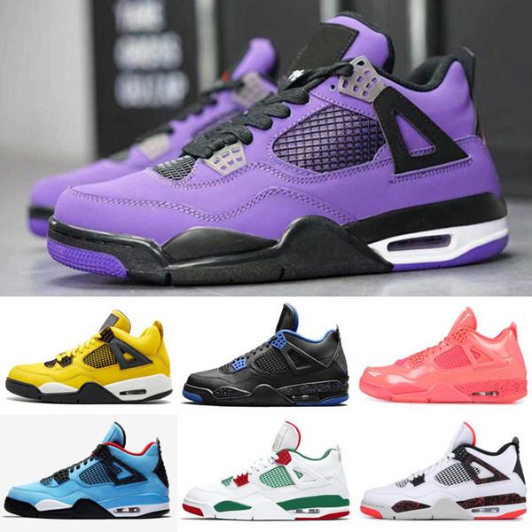 2019 Новый Трэвис х 4 4S Кактус Джек IV Фиолетовый Синий Ретро Баскетбольная Обувь Спо