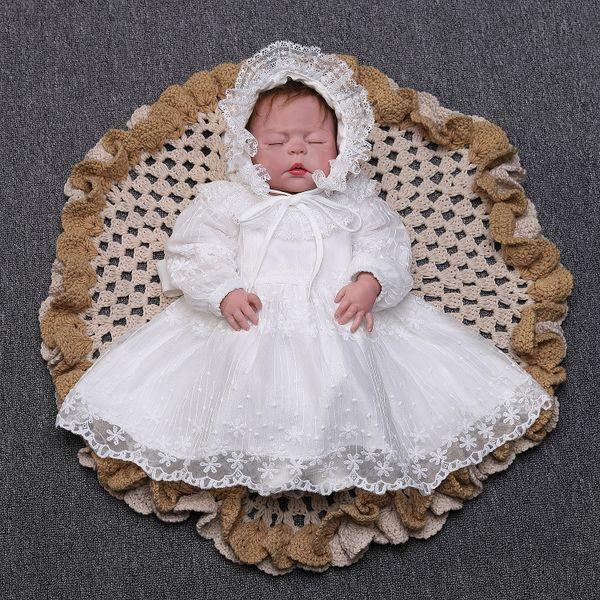 Autumn baby girls dresses infant 1st birthday party dress girls lace gauze embroidery princess dress+lace hollow falbala hat 2pcs sets F8605