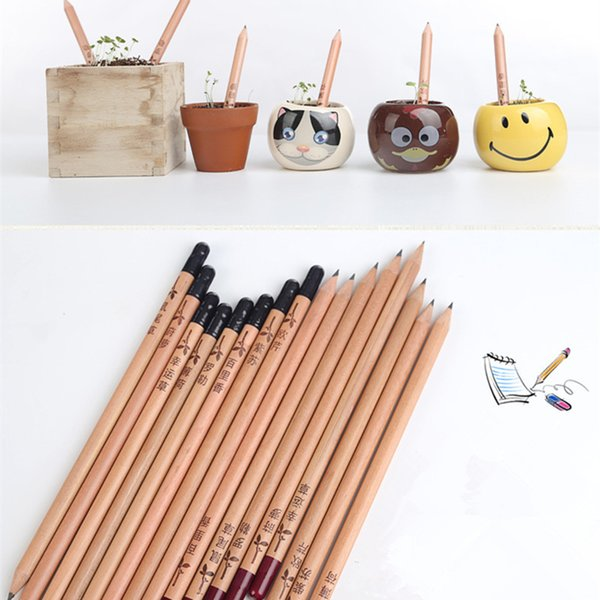 8pcs /Pack Creative Wooden Black Hb Sprouting Pencils With Plants Seeds For Kids Student Gift
